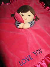 """Carter's Security Blanket Rattle Doll Love You Pink Girls 14"""" Soft Plush Lovey"""