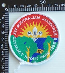 VINTAGE 1985 SCOUTS AUSTRALIAN JAMBOREE CATARACT EMBROIDERED CLOTH SEW-ON BADGE