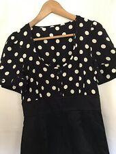 Ladies Navy Blue Mix  Polka-dot Bodice Pencil Dress size 10