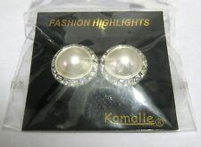 Wonderful silver tone metal earrings faux half pearl centre white stone Komalle