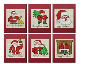 Set of 6 Christmas Cards of Santas - Cross stitch kit, 6 Red Pearlescent Cards