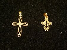 2  NEW 14k SOLID GOLD CROSSES