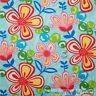BonEful Fabric FQ Cotton Quilt VTG Aqua Blue Pink Rainbow Hippie Flower Leaf Dot