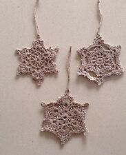 Beige Handmade Christmas Decorations THREE Pieces Very Quick Delivery