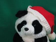 PRESTIGE TOYS BLACK IVORY PANDA TEDDY BEAR CHRISTMAS HAT MITTENS PLUSH SOFT