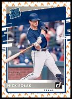 #/75! 🔥 2020 Donruss Rated Rookies On Fire #57 Nick Solak RC - Texas Rangers