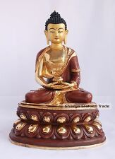 "14"" Amitabha/Amida Buddha Gold Gilded with Face Painted Statue from Patan, Nepal"