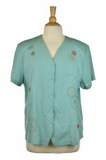 Alfred Dunner Women Tops Blouses 18 Teal Polyester