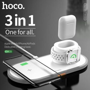 HOCO Qi Wireless Charger Pad 3in1 Charging Dock for Apple Watch Fast Charging