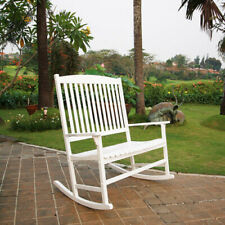 Outdoor Wood 2-Person Double Rocking Chair Patio Porch Deck Classic White Brown