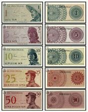 Indonesia 1 5 10 25 50 Sen 1964 (UNC) 印度尼西亚1,5,10,25,50仙 1964年版 (5枚一套)