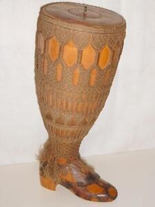 Rare Articulating Wood & Copper Leg Foot Boot Gothic Lace Art Sculpture