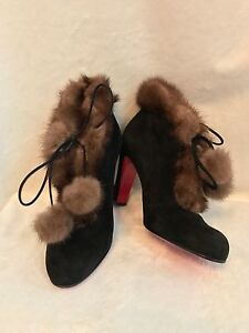 NEW Christian Louboutin Black Suede Mink Fur Trim Shoes Booties Boots,  39, 8