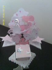 hand made New baby pop up card & Stand Boy or Girl