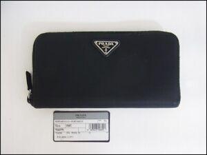 Auth XX15 PRADA triangular logo plate round zipper wallet from Japan