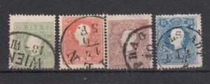Österreich  Nr. 12c gelbgrün, 13-15 II, gestempelt