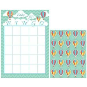 Up, Up & Away Hot Air Balloon Baby Shower Birthday Party Activity Bingo Game