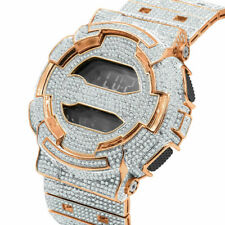 Custom Casio G-Shock Rose Gold Simulated DiamondAdjustable Band Watch GD -100