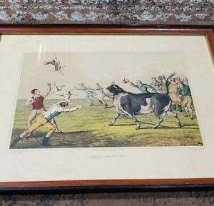 """1820 Henry Alken """"Bull Baiting"""" Antique Lithograph Print in Black/Red Wood Frame"""
