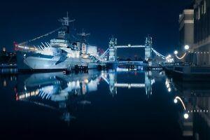 London Tower Bridge At Night HMS Belfast Landscape Art Poster / Canvas Picture