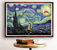 Starry Night Rick and Morty Print Parody Art Rick and Morty Poster Funny Poster