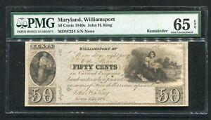 1840'S 50 CENTS MARYLAND, WILLIAMSPORT OBSOLETE REMAINDER PMG GEM UNC-65EPQ.
