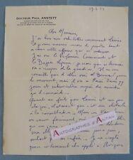 L.A.S 1933 Docteur Paul ANSTETT médecin - Lettre autographe - LAS Médecine