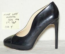 "size 10 m Nine West NADYA asymmetrical scalloped black leather pump 5"" heel-114t"