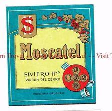 Unused 1940s URUGUAY Montevideo Siviero Hnos Moscatel Wine Label