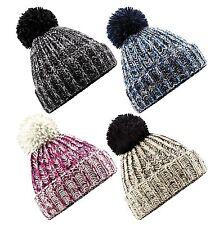 Mujeres Ladies TWIST-Knit Pom Pom Beanie Hat