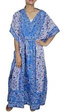Beautiful Printed Blue Kaftan Free Size Maxi Dress Beach Caftan Casual Wear