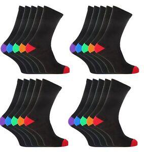 6 12 24 Mens Black Cotton Rich Coloured Design Heel & Toe Socks UK Size 6-11 ZQE