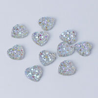 10 12mm Flat Back Iridescent AB Crystal Heart Rhinestone Embellishment Face Gems