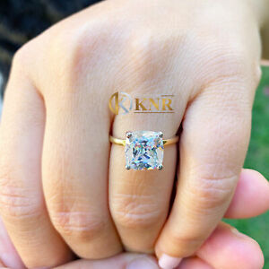14K SOLID YELLOW GOLD CUSHION CUT MOISSANITE ENGAGEMENT RING SOLITAIRE 5.00ct