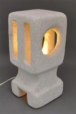 Sixties 60er alte stylische Tischlampe aus Stein Tuffstein Handarbeit signiert