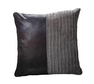 "SNAKESKIN Leatherette Cord Cushion Cover BLACK / GREY 18"" 20"" 22"""