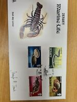 Jersey Stamps 1974 wildlife  set  of 4 on FDC signed by artist D15