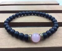 8mnm obsidian Bracelet pray Meditation energy Tibet silver men Unisex Healing