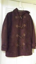 Chaps Brown Suede Winter Coat Toggle Duffel Jacket Women's Size Medium