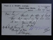 Salford j.j.rigby Ltd, Regent Jabón obras C1905 enteros postales Pc