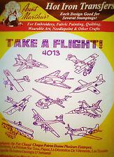 "Aunt Martha's Hot Iron Transfer # 4013 "" Take A Flight ! """