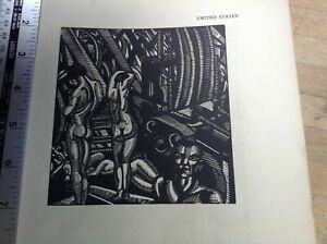 1920s Woodcut print Man Machines by Cecil Buller