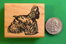 Cocker Spaniel Dog Rubber Stamp, Wood Mounted