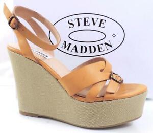 Women's Steve Madden Twitzer Ankle Strap Platform Wedge Sandals Cognac Size 10