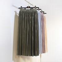 1 Piece Women Pleated Skirts Glitter High Waist Spring Summer Knee Lenght