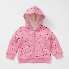 BNWT BABY GIRLS SIZE 000 PINK HOODED SHERPA LINED ZIP JUMPER HOODIE NEW