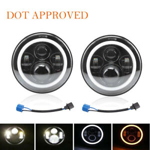 DOT Pair 7inch Round LED Headlights Projector Headlamp For Jeep Wrangler JK