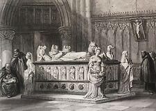 Tombeau de François II Duc de Bretagne estampe XIXe France par Rouargue 1853