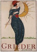 Home Wall Art Print - Vintage Advertising Poster - GRIEDER ZURICH - A4,A3,A2,A1