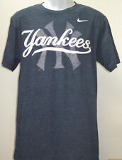 New York Yankees Nike MLB Tri Blend Wordmark Logo Blue Tee Mens Large T-Shirt